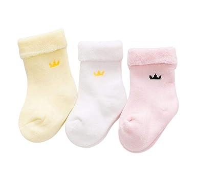2752cb78aedbb DEBAIJIA 3 Paires Bébé Enfant Chaussettes Épaisses Basses en Coton pour  Nouveau-né Garçons Filles