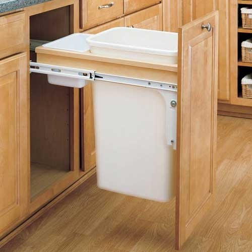 Rev-A-Shelf - 4WCTM-1850DM Single 50 Qt. Pull-Out Top Mount Waste Container for 15inch Wide Opening. 1.5inch Face Frame Cabinet
