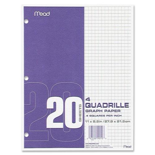 Wholesale CASE of 10 - Mead Quad Ruled 3-Hole Graph Paper-Graph Paper, 4