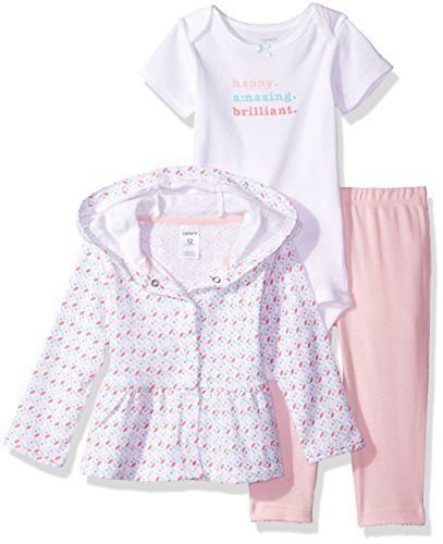 (Carter's Baby Girls' 3 Piece Sets, White/Light Pink, 9)
