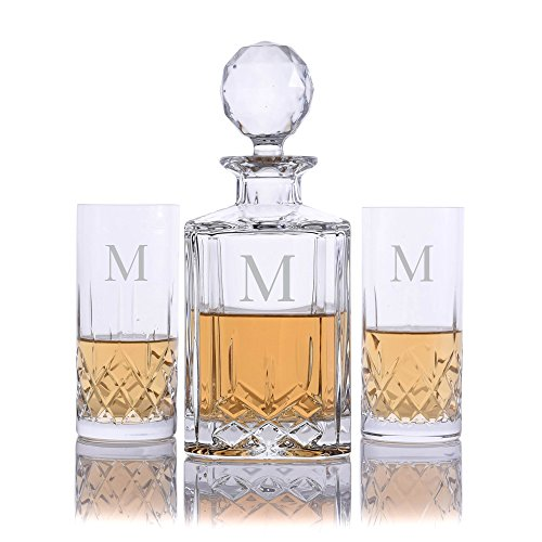 Personalized Crystalize Cut Crystal Whiskey Liquor Decanter and 2 Cut Crystal Highball Cocktail Glasses Engraved & Monogrammed - Great Gift for Father's Day, Weddings and Groomsmen