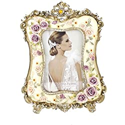 Beautiful White Crystal Victorian Flower Family Picture Photo Frame for Home Decor (4x6, Flower Blossom)