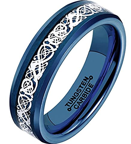 FCL Blue Rings for Women 6mm Blue Carbon Fiber Silvering Dragon Inlay Blue Plated Tungsten Carbide Rings 7-13