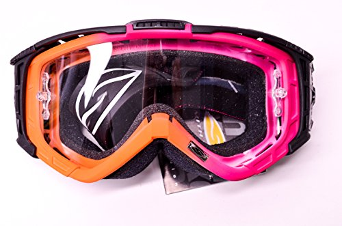 (Intake Sweat X Moto Series Clear Lens Pink Orange Goggle)