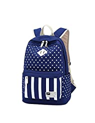 Qiaoshubao Fashion Polka Dots and Stripes Canvas Laptop Backpack Cute Travel School College Students Shoulder Bag/bookbag/daypack for Teenage Girls/students/women (dark blue)