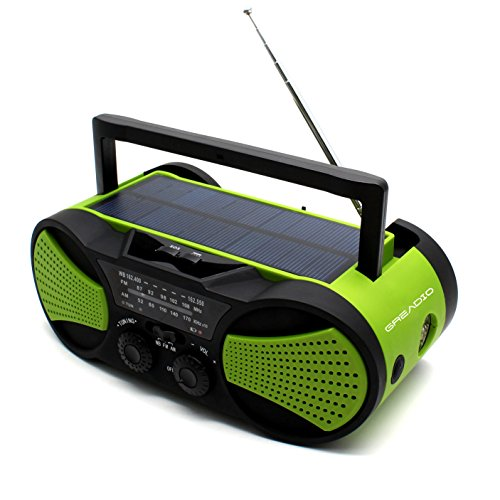 Solar Crank Emergency AM/FM NOAA Weather Portable Radio with Aux Line-In Input, 3W Flashlight, 1W Solar Panel, Reading Lamp & Rechargeable 4000mAh Power Bank for Cellphone and Gopro Camera (Radio Kitchen Ipod Fm Am)