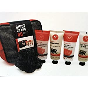 Giddy Up & GoTravel Kit 6 piece- Red & Gray Bag, Pouf, Face Wash Scrub, Sea Salt Body Lotion, Shampoo & Conditioner, Body Wash