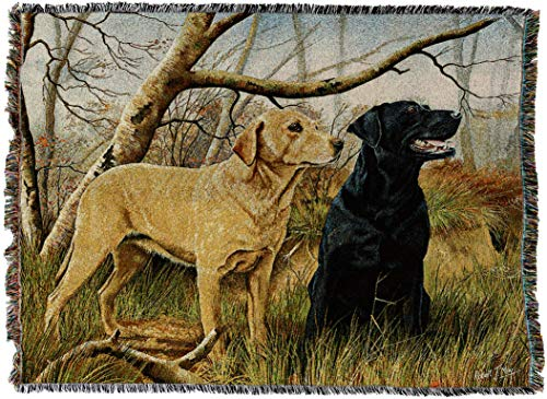 Pure Country Weavers - Labrador Retrievers Woven Tapestry Throw Blanket with Fringe Cotton USA Size 72 x 54 -