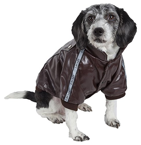 PET LIFE 'Wuff-Rider' Fashion Suede Stitched Pet Dog Coat Jacket, X-Small, Dark Brown