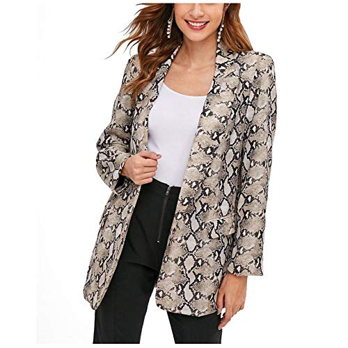 Snakeskin Top Print (Women Snakeskin Blazer Fashion Loose Fall Spring Python Animal Print Jacket Top)
