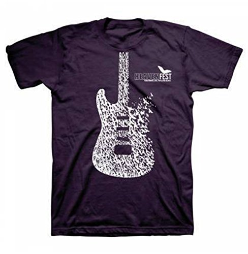 Kerusso Heavenfest Bird Guitar Adult Short Sleeve Christian T-shirt-Blackberry-small (Christian Guitar Tshirts For Men)