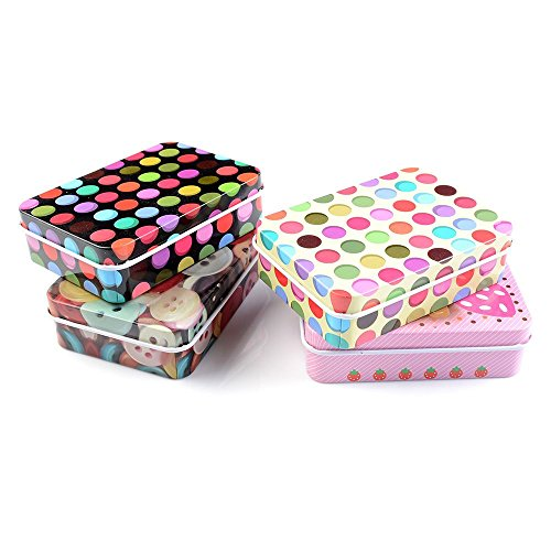 gootrades 4 Pack Mini Iron Tin Box Jewelry Cards Coin Storage Rectangular Bags Case -