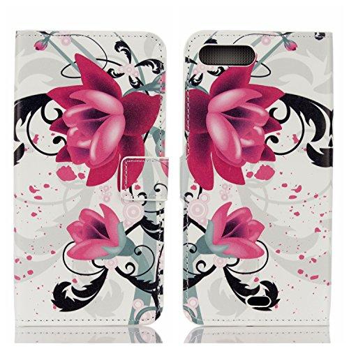 Voguecase® Pour Apple iPhone 7 4,7 Coque, Étui en cuir synthétique chic avec fonction support pratique pour iPhone 7 4,7 (fleur pourpre)de Gratuit stylet l'écran aléatoire universelle