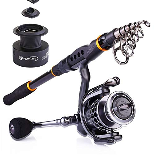 Fishing Rod Reel Combos - 24 Ton Carbon Portable Telescopic Fishing Rod Pole with 13+1BB Spinning Reel Kit 3.0M XY3000