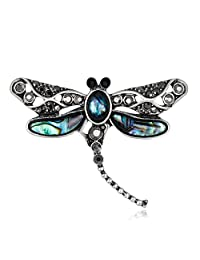 Lureme Fashion Insect Jewelry Abalone Shell with Rhinestone Dragonfly Brooch Pin (br000072)