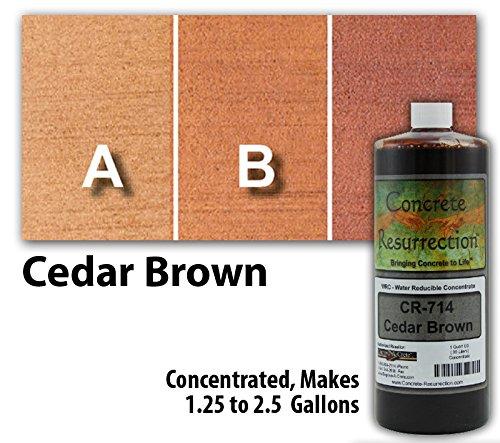 Semi-Transparent Water Reducible Concentrate (WRC) Concrete Stain -Cedar Brown 32 ounce Concrete Resurrection by Concrete Resurrection