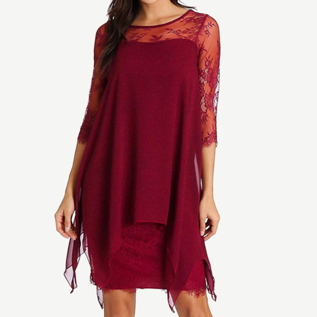 Women Solid O-Neck Asymmetrical Hem Lace Chiffon Long Sleeve Casual Overlay Plus Size Mid Dress by BOLLH