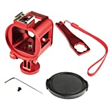 Nechkitter Aluminum Skeleton Case for gopro hero 4 Session Hero 5 Session Kits Thick Solid Protective Case with Lens Cap and Mount and Wrench for Thumbscrews for gopro hero4 session hero5 session Red