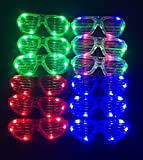 M.best Unisex Flashing Plastic Glow LED Light Up Shades Show Toy Glasses Party Favors Supplies Set of 12