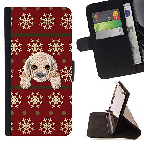 [ Cocker Spaniel ] Embroidered Cute Dog Puppy Leather Wallet Case for LG V30 [ Red Snowflake Sweater Pattern - Snowflakes Embroidered Sweater