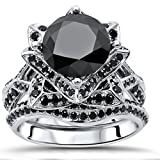 Smjewels 3.1Ct Black Round CZ Diamond Lotus Flower Engagement Ring Bridal Set In White Gold Fn