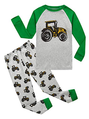 Family Feeling Tractor Big Boys Long Sleeve Pajamas Sets 100% Cotton Pyjamas Kids Pjs Size 10 Grey