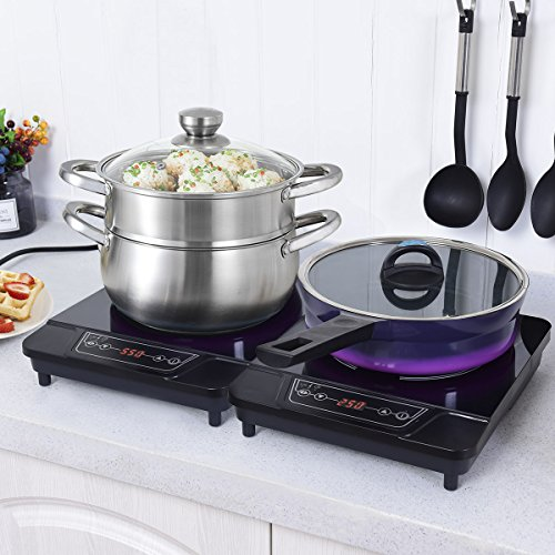 COSTWAY 1800W Portable Electric Induction Cooktop Countertop Burner Digital Hot Plate for Kitchen,Dorms,Patios,Black (2)