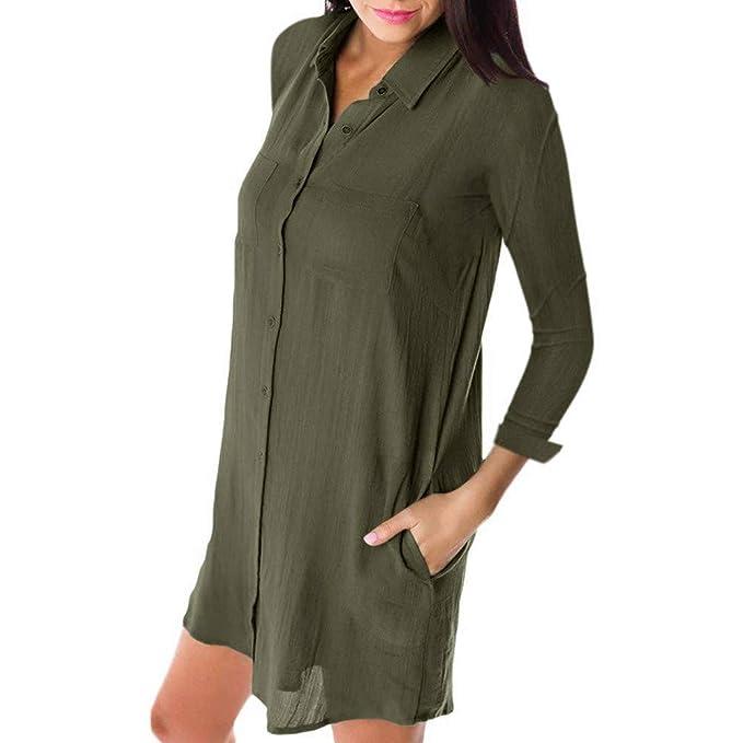 Bluse Vintage Damen Hemd Lsaltd Frauen Kleid Ausschnitt V Lang Knopf SpqVUMGzL