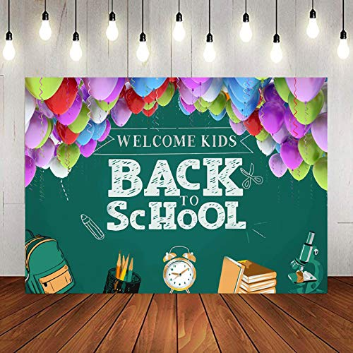 Colorful Balloons Blackboard Photography Backdrop for Back to School Party, 9x6FT, Welcome Back Kids Pupils Background, Photo Booth Studio Props LYLU1000 (Best Camera To Learn Photography 2019)