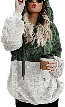 Bibowa Women's Double Fuzzy Casual Sweatshirt Hoodie Pullover Coat