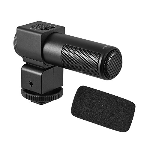 میکروفون استریو Andoer M101 میکروفون خازن برگشتی میکروفون ضبط ویدیو با میکروفون ضد باد برای Canon Nikon Sony و سایر دوربین های اصلی DSLR