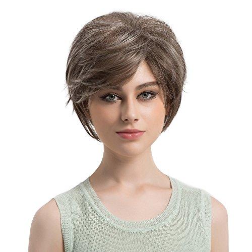 Natural Light Straight Short Hair Wigs Short Fashion Cute Wigs Women (A) ()