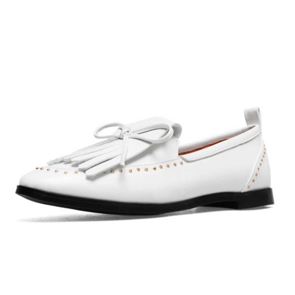 GAOLIXIA Frauen Leder Pumps Einzelne Schuhe Frühling Sommer Mode Quaste Niet Freizeitschuhe Flache Bequeme Outdoor Wanderschuhe Größe 40-43