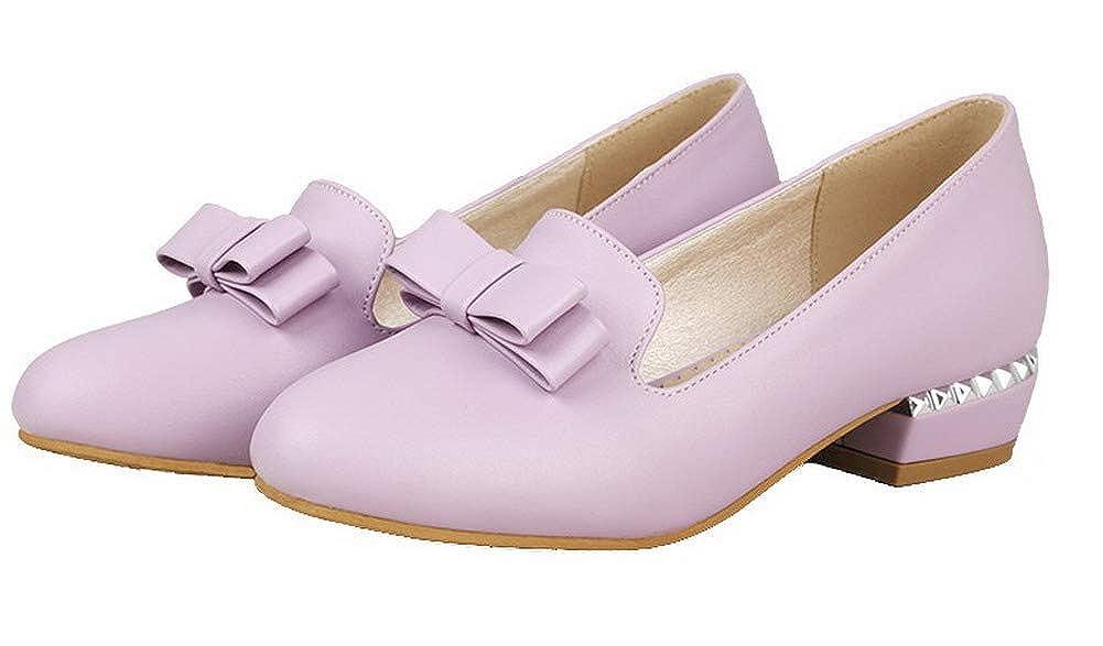 AgooLar Femme Rond Tire PU Cuir à Talon Bas Chaussures Légeres,GMBDB011894 Violet