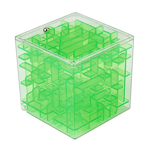 3D Cube Puzzle Maze Toy,Pausseo Magic Fun Brain Teaser Challenge Game Hand Game Case Box Gift Game Globe Sphere Bulk Labyrinth Learning Education Doll for Kids and Adults ()