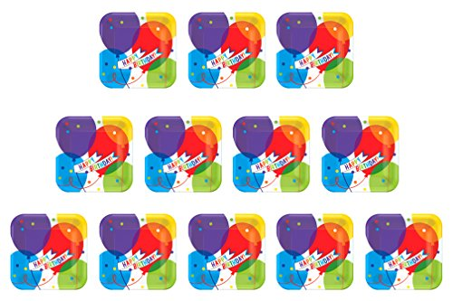 Celebration 7' Plates (Amscan (Amsdd) Brilliant Balloons Square Plates, 7'' 7'')