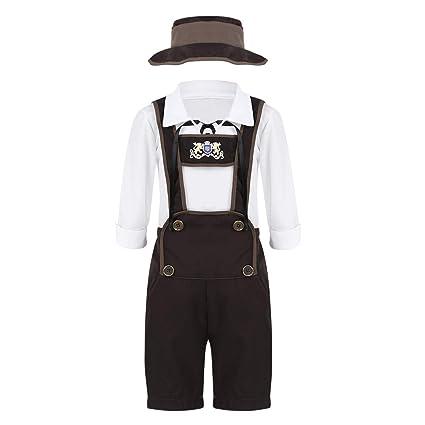 4fd4e3e32e Freebily Kids Boys Halloween Oktoberfest Costumes Lederhosen Shorts Hat  with Shirt Outfits Cosplay Fancy Dress Up Clothes White Brown 5-6 Years  ...