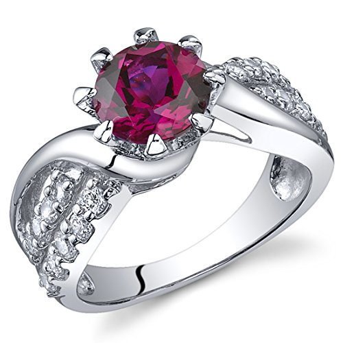 top Regal Helix 1.75 carats Created Ruby Ring in Sterling Silver Rhodium Nickel Finish Sizes 5 to 9 hot sale