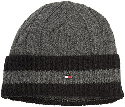 Tommy Hilfiger Herren Strickmütze New Austin Beanie, Grau (Charcoal Htr/Flag Black-PT 093), One size