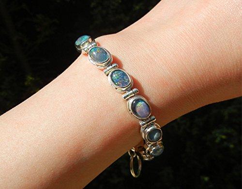code promo 3b750 8af51 Bracelet opale, opale d'Australie, pierre précieuse, pièce unique, couleur  arc-en-ciel, argent massif 925