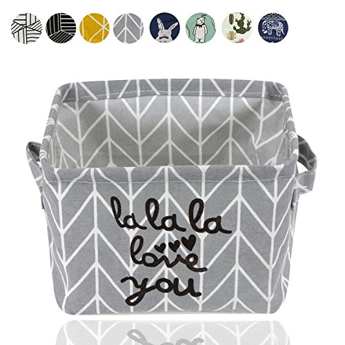 Small Foldable Storage Basket Canvas Fabric Waterproof Organizer Collapsible and Convenient For Nursery Babies Room 100% COTTON with Handle (Grey)