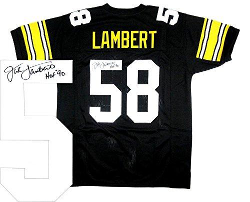 Jack Lambert Signed Pittsburgh Steelers Black Throwback Custom Jersey with