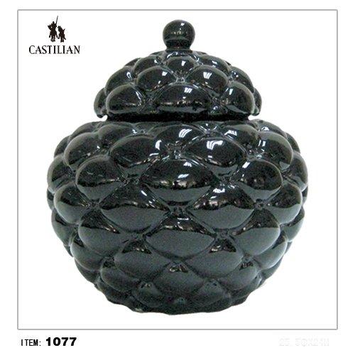Castilian Jar with lid Tufted pillow jar in black porcelain finish #1077 by castilian