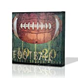 Green Frog Football Sports Themed Canvas Wall Art With Hand Embellishment, Size 18 X 18 for Boys Room Baby Nursery Wall Decor Boys Gift