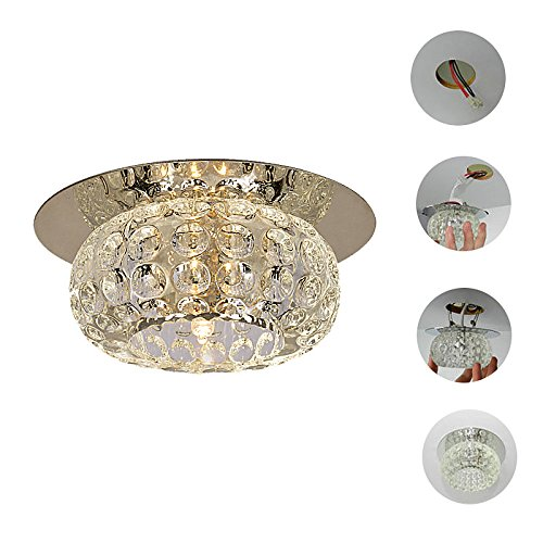 Square Bulb Included Crystal Flush Mount Downlight