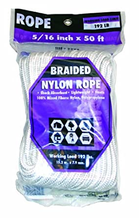 Rope King BN-51650 Braided Nylon Rope 5/16 inch x 50 feet