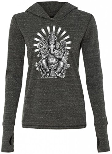 Yoga Clothing For You Ladies Ganesha Tri-Blend Hoodie, Large Charcoal