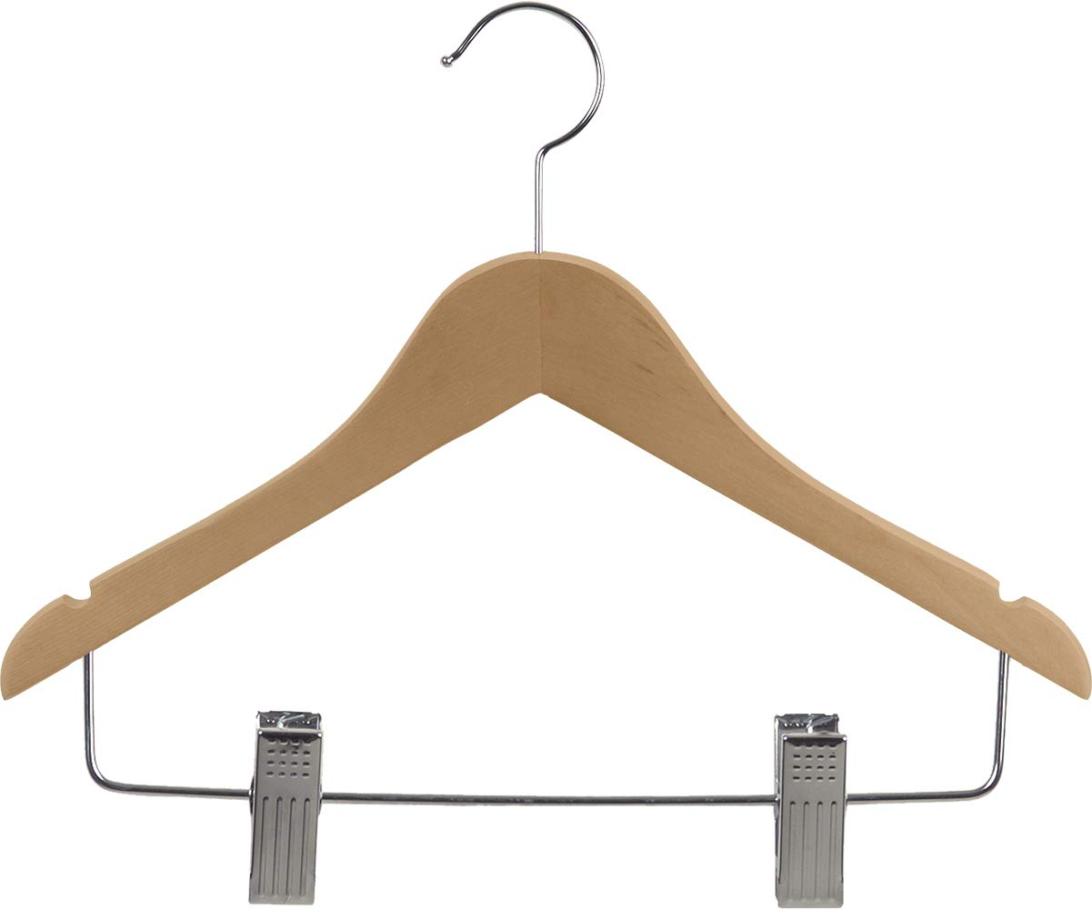 The Great American Hanger Company Natural Juniors Combo Hanger with Clips and Notches (Box of 100)