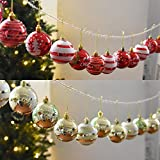 Winnerbe 24PCS 6cm Christmas Tree Ball Baubles Party Wedding Hanging Ornament Christmas Decoration Supplies Gold
