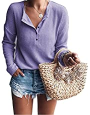 Solidpin Womens Long Sleeve Tunic Tops V Neck Waffle Knit Shirts Button Up Blouses